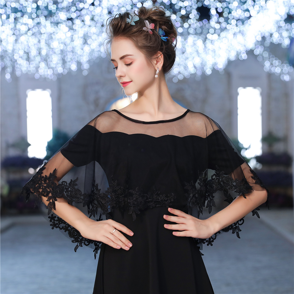 Flower Applique Edge Wrap Shawl Black Sheer Tulle High Low Wedding Short Cape Evening Party Women Bolero Sleeveless Stole Bridal