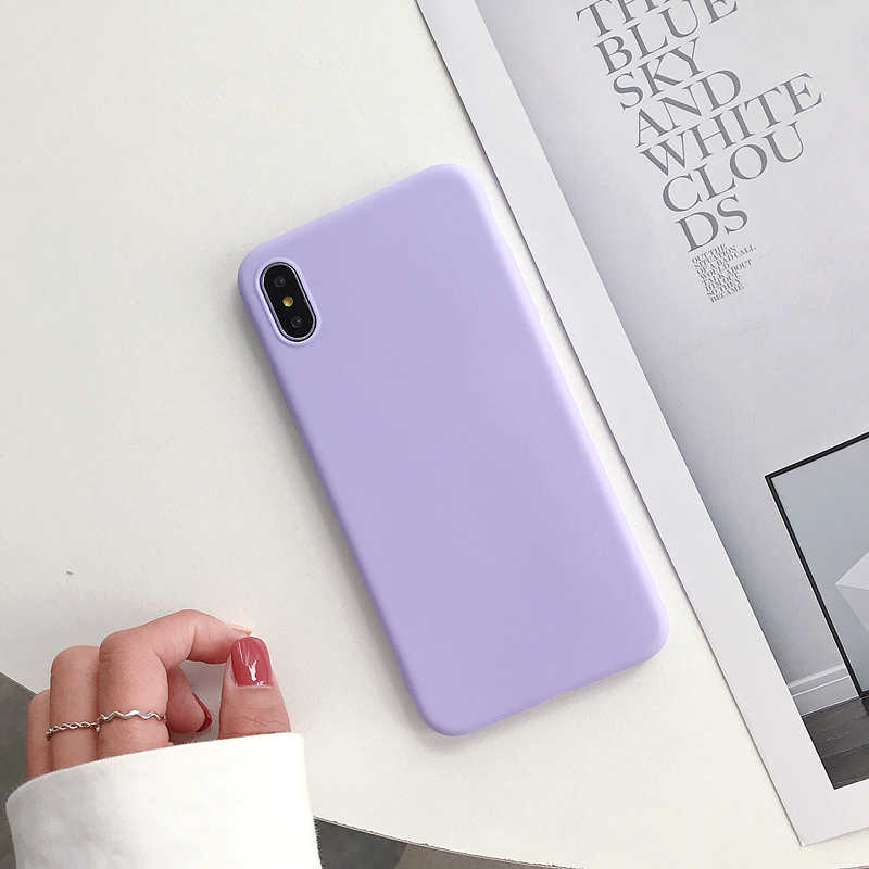 Soft Back Cover Matte Color Case For iPhone 6 6S 7 8 Plus X XR XS Max Shockproof TPU Silicone Protective Luxury Candy Capa Coque