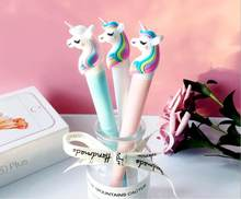 24pcs/lot 2019 Korea Unicorn Rainbow Pony Black Gel Ink Writing Pens Office Study Materials Kids Birthday Takeaways Party Favor(China)