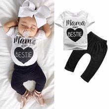 цены 2Pcs Newborn Baby Boys clothing set Kids Casual T-shirt Tops+Long Pants short sleeve Cotton Outfits white black Clothes Set 0-2Y