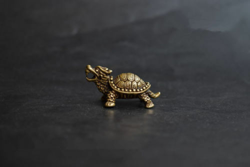Collectable Chinese Brass Carved Animal Zodiac Dragon Turtle Exquisite Small Statues