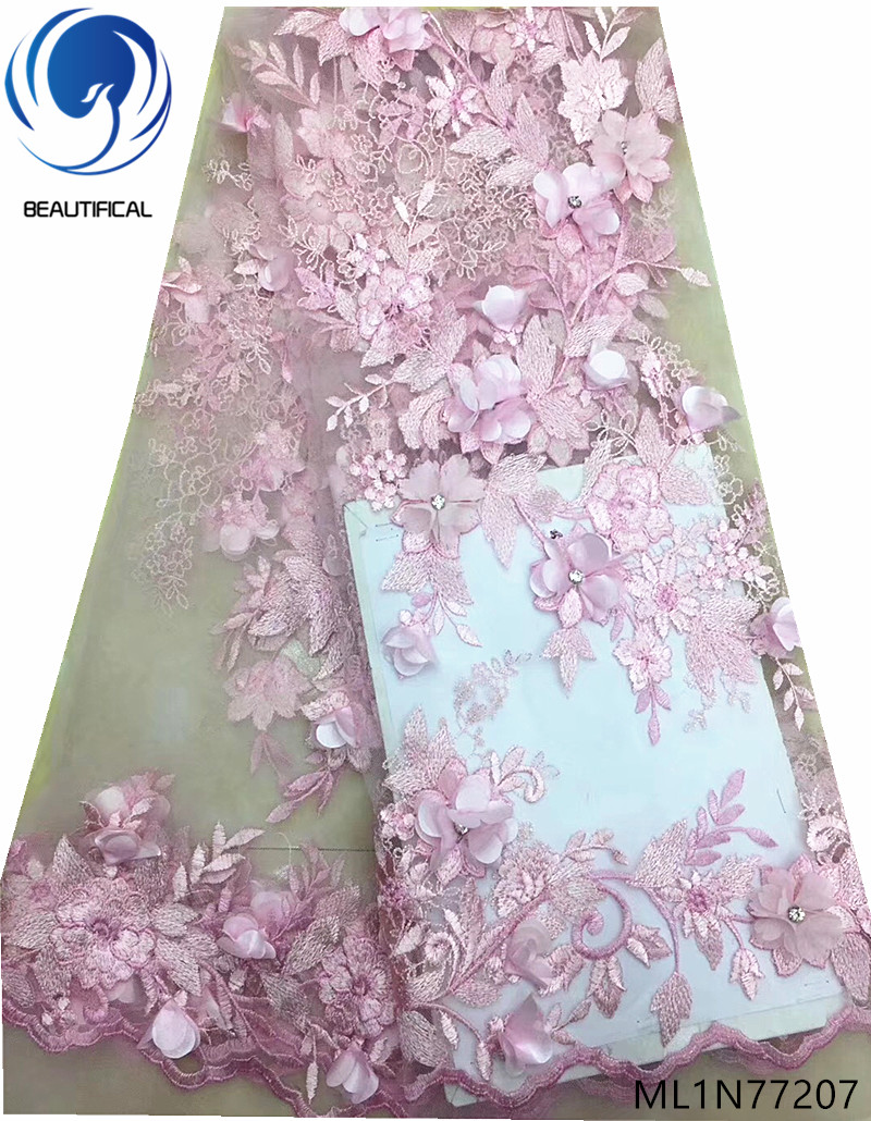 BEAUTIFICAL blue 3d flower laces fabrics african lace dress with rhinestones 2019 french lace for women 5yards/lot ML1N772BEAUTIFICAL blue 3d flower laces fabrics african lace dress with rhinestones 2019 french lace for women 5yards/lot ML1N772