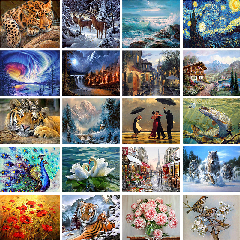 Embroidery Painting Wall-Sticker Mosaic Diamond Animal Landscape-Character 5D Cross-Ctitch-Kit