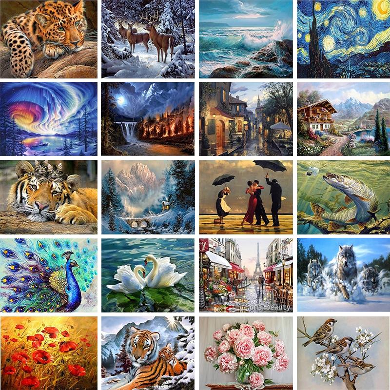 Домашний животный пейзаж, персонаж 5D, алмазная живопись, крест, набор, 20 узоров, настенная наклейка, мозаика, алмазная вышивка, картина