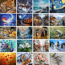 Home Animal landscape character 5D Diamond Painting Cross Ctitch Kit 20 Pattern Wall Sticker Mosaic Diamond Embroidery Painting(China)