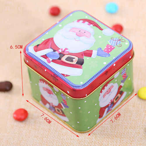 Nowy świąteczny styl kwadratowe pudło blaszane herbatniki landrynkowy futerał świąteczny prezent przechowywanie ciasteczek
