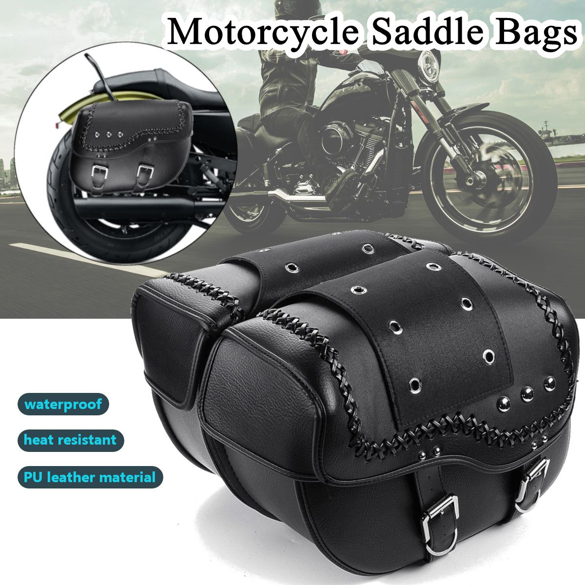 2pcs leather bags motorcycle bags saddlebags motorcycle saddle bag motorcycle
