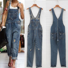 2019 Women Girl Washed Denim bodysuit Ladies Casual Jeans Hole Rompers Womens Jumpsuit Overalls #16 Denim Jumpsuits(China)
