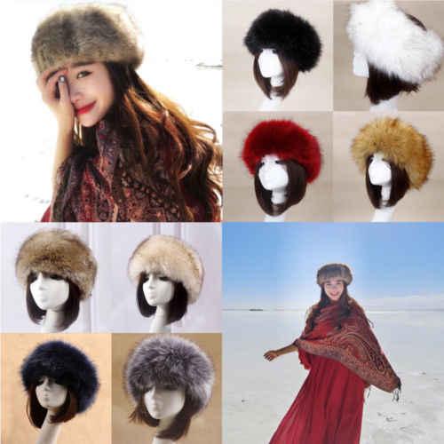 ... 2019 Winter Thick Furry Hairband Fluffy Russian Faux Fur Women Girl Fur  Headband Hat Winter Outdoor ... 68d0d22c123