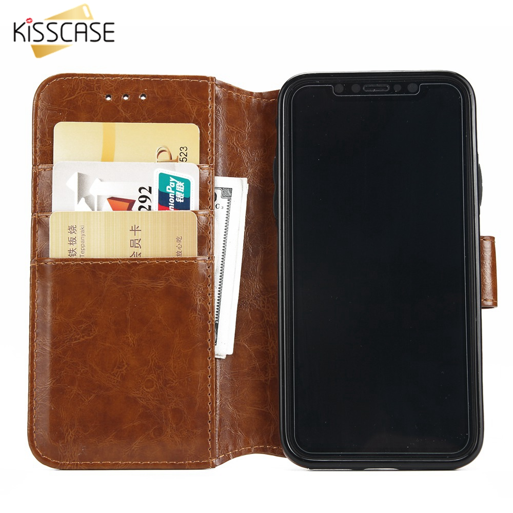 KISSCASE Leather Holder Stand Flip Wallet Case For iPhone 8 7 6 6s Plus 5 5s SE Bags X XR XS MAX Fundas