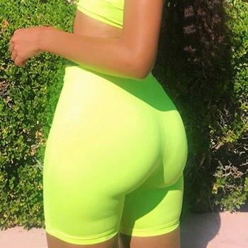 Women High Waist Fitness Sports Biker Shorts Summer Jogging Beach Athletic Casual Skinny Soft Elastic Stretchy Solid Shorts 4