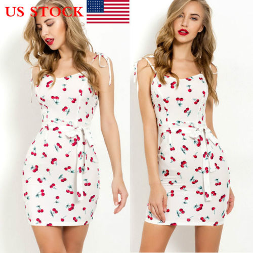 Women Sexy Cherry Print   Dress   Bodycon   Cocktail   Party Short Mini   Dress