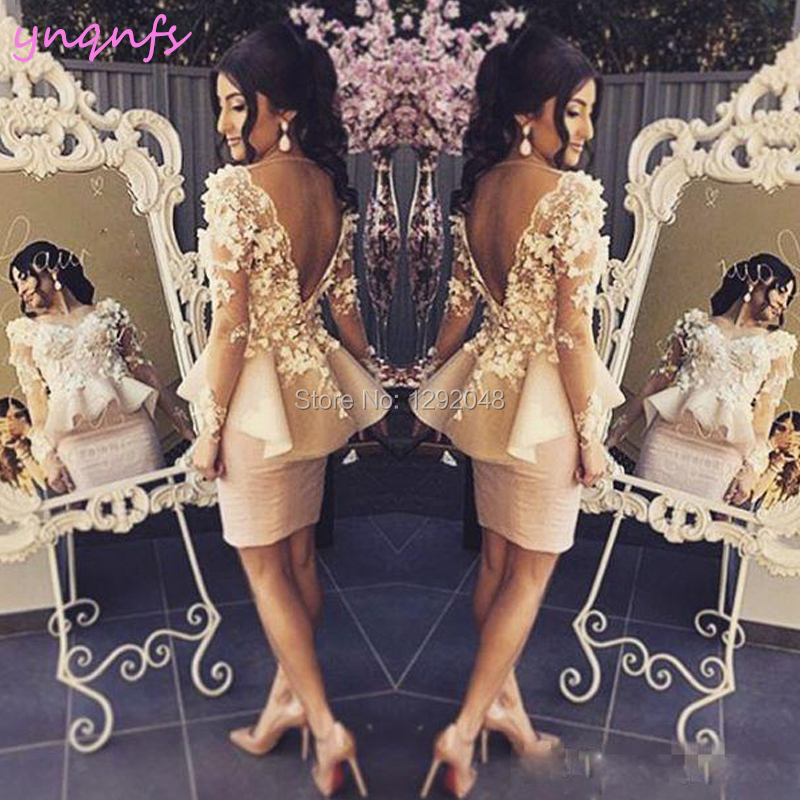 YNQNFS C17 Women Elegant Dress Party Long Sleeves Lace Flowers Backless Pearl Pink Robe Cocktail Dresses 2019