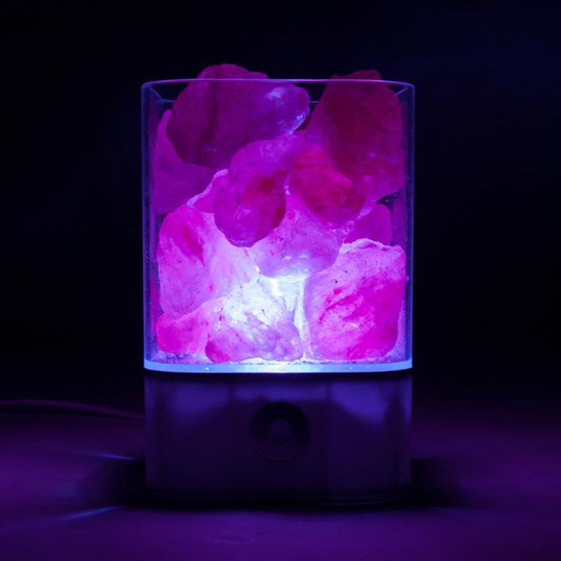 USB Natural Himalayan Crystal Salt Table LED Lamp Night Light Air Purifier Smoke Dust Purification Bedroom Decoration Ornaments