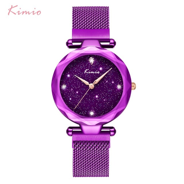 KIMIO Brand Starry Sky Watch Women Magnet Stainless Steel Mesh Rose Gold Quartz