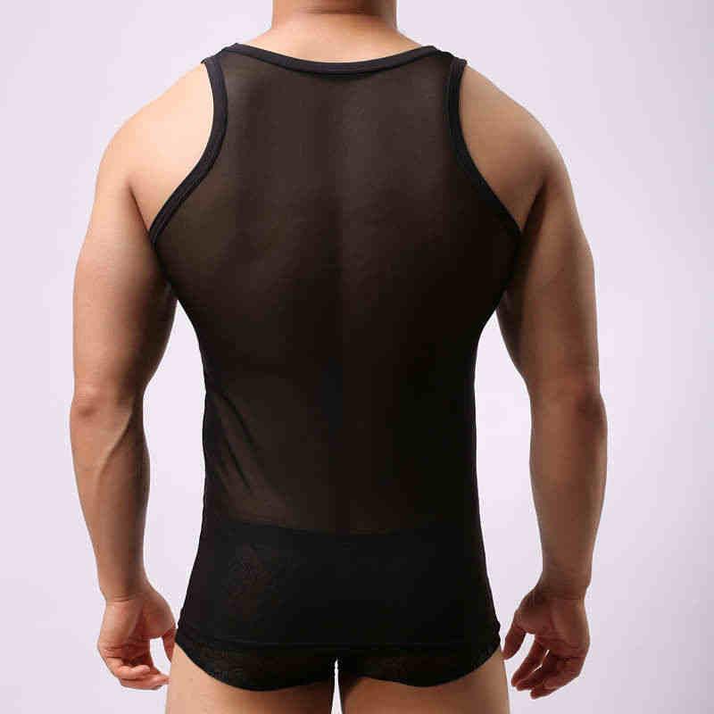 Mesh Sheer Men's Undershirt Underwear Sexy Men Breathable See Through Sleeveless Vest Fashion Transparent Sleepwear Underwear