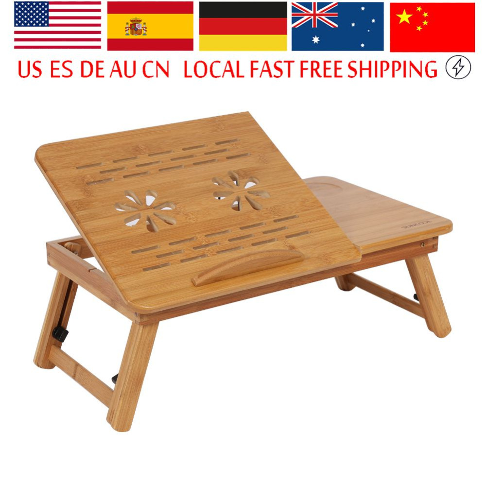 New Style Portable Laptop Desk Bed Lap Desk Folding Book Reading Breakfast Serving Tray With Cooling Holes Small Drawer laptop desk for bed