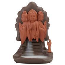 Buddha Monk Backflow Incense Burner Smoke Waterfall Holder Ceramic Aromatherapy Censer Decorative