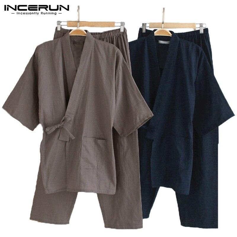 Suit Sleepwear Pajamas Kimono Lounge-Lightwear Male Cotton Mens Bathrobe Robe-Gown Loose-Fit