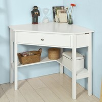 White Wood Corner Desk Triangle Table with Drawer Home Office Computer Workstation SoBuy FWT31 W