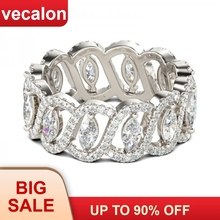 Vecalonเซ็กซี่สัญญาแหวนดอกไม้925เงินสเตอร์ลิง5A Zircon Czแหวนหมั้นแหวนผู้หญิงผู้ชายเครื่องประดับที่ดีที่สุดของขวัญ