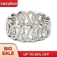 Vecalon Sexy Beloven Bloem Ring 925 Sterling Zilver 5A Zirkoon Cz Engagement Wedding Band Ringen Voor Vrouwen Mannen Sieraden Beste gift