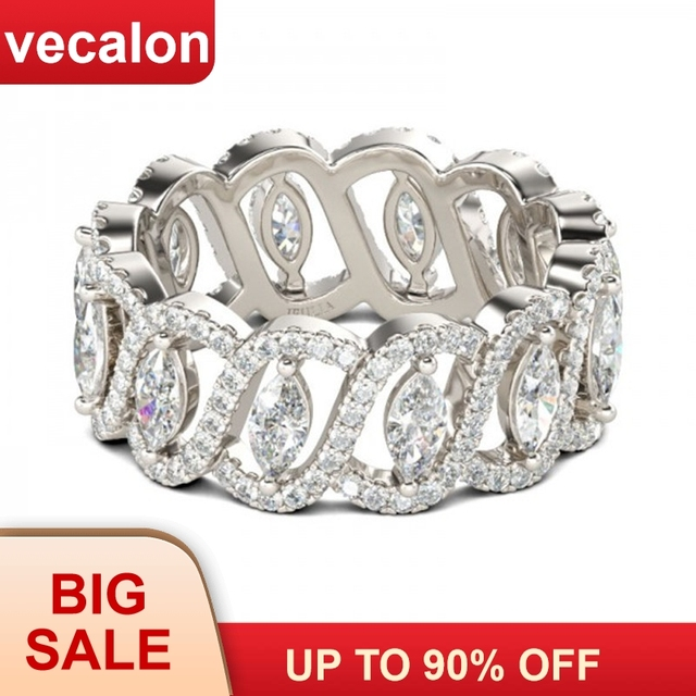 Vecalon Sexy Promise Flower Ring 925 sterling silver 5A Zircon Cz Engagement Wedding Band rings for women men Jewelry best Gift