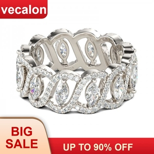 Image 1 - Vecalon Sexy promesse fleur anneau 925 en argent sterling 5A Zircon Cz fiançailles bague de mariage anneaux pour femmes hommes bijoux meilleur cadeau