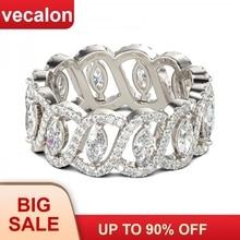 Vecalon seksi söz çiçek yüzük 925 ayar gümüş 5A zirkon Cz nişan düğün Band yüzükler kadın erkek takı için en iyi hediye