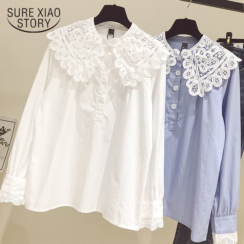 Blusas Mujer De Moda 2019 Long Sleeve Blouses Women Shirts Lace Doll Collar Women Blouse Shirt Womens Tops And Blouses 1740 50