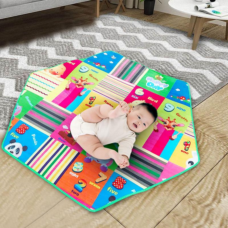 Kids Game Mat Letter Print Baby Room Floor Rug Round Crawling Pad Carpet