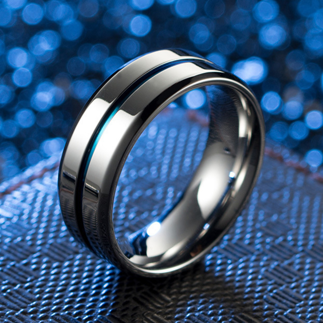 Silver Loop Thin Blue Groove 8mm High Polish Stainless Steel Wedding Band Engagement Ring For Men Comfort Fit Bague Homme titanium ring