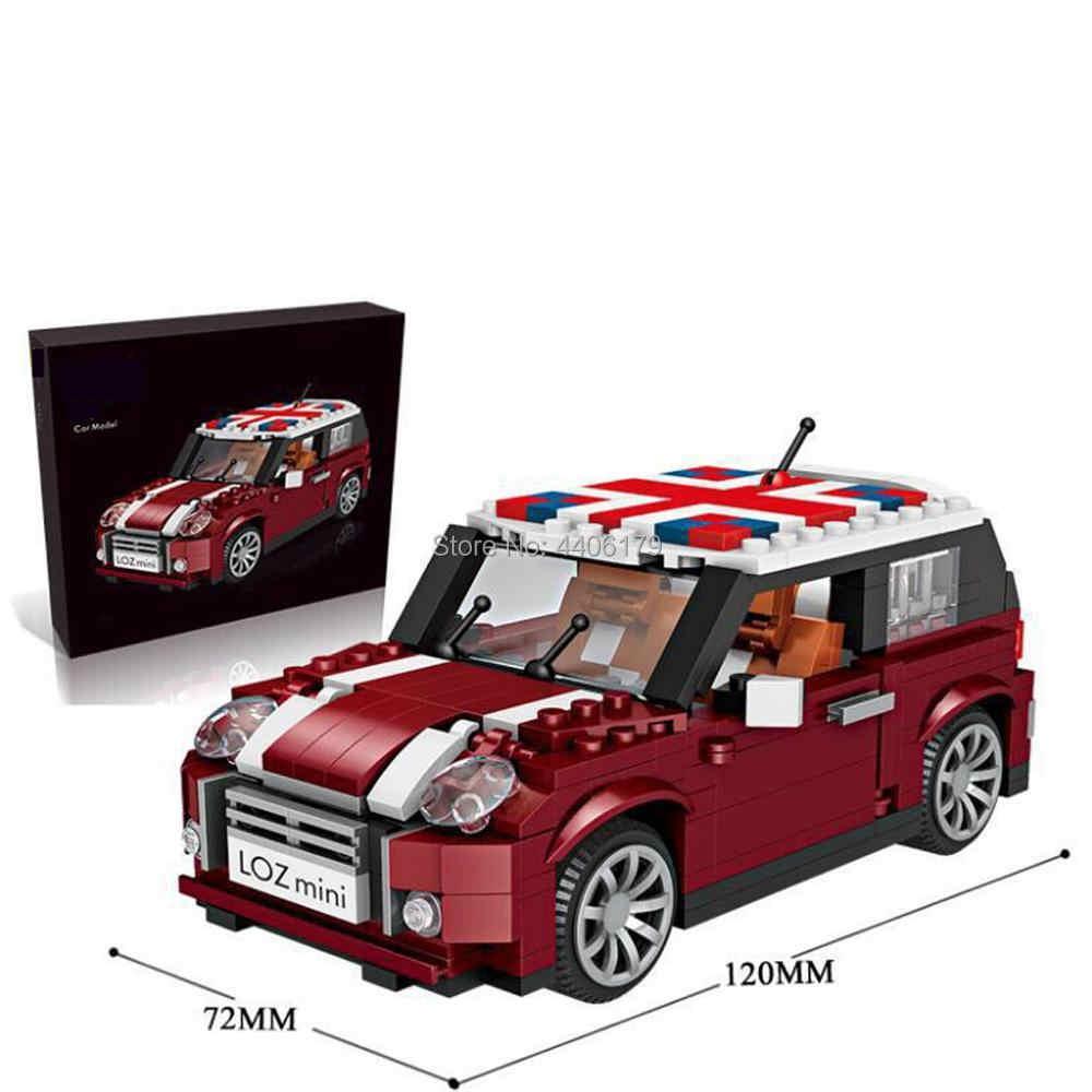 Hot Legoinglys Pencipta Teknik Kendaraan Retro Mobil Mini Cooper Micro Diamond Blok Bangunan Model Batu Bata Mainan untuk Anak-anak Hadiah