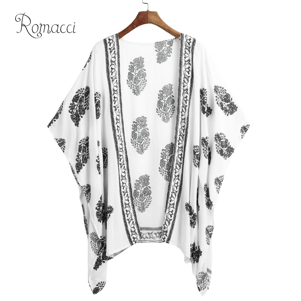 36f4b01c866 Romacci Women Summer Kimono Cardigan Plus Size Boho Bikini Cover Up Floral  Print Beach Clothes Boho