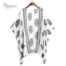 c4ec597e17 Romacci Women Summer Kimono Cardigan Plus Size Boho Bikini Cover Up Floral  Print Beach Clothes Boho Blouse Top Beachwear 2019