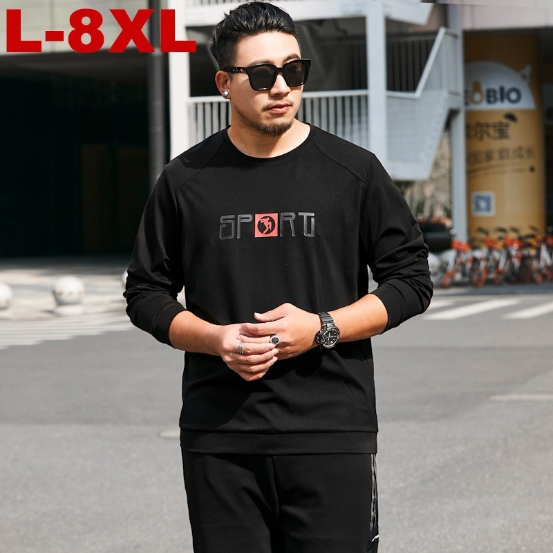 2019 New Men O neck T Shirt Chinese Style Fat Guy Plus Size Men 39 s Casual Long sleeve Large T shirt 7xl 8xl Bust 140 Cm in T Shirts from Men 39 s Clothing
