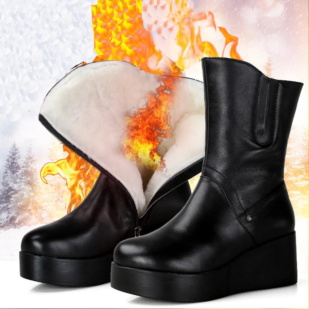 Moda Las Botas Invierno Esquí Piel Nueva Nieve Cuero 100 Zapatos De 01 Mujeres AqXnHwd