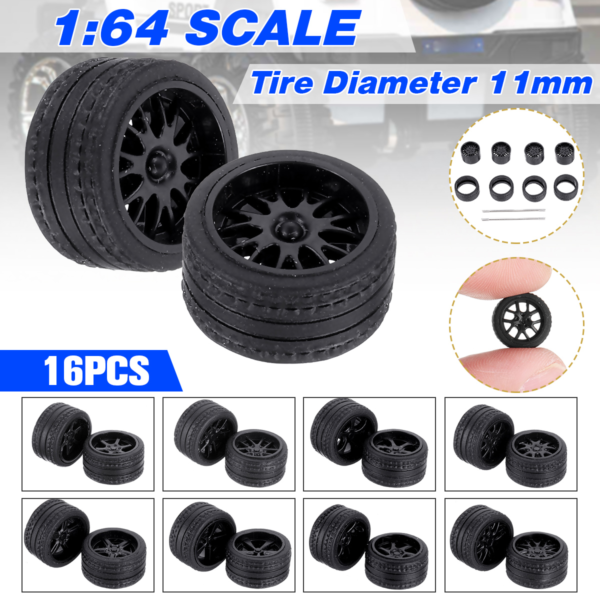 16PCS/Four Boxes 1:64 ABS Rubber Wheels Tire Set Axles Vehicle Wheels Tire Modified Alloy Car Refit Wheels For Vehicle Car Model