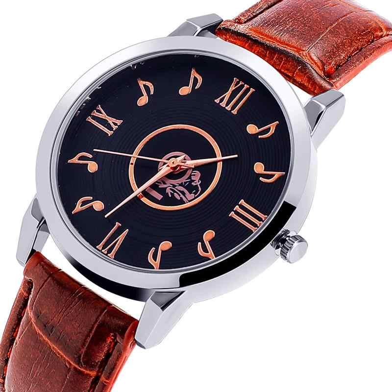 جديد الأزياء الموسيقى ساعة ذات تصميم رائع النساء الفاخرة الفولاذ المقاوم للصدأ حلقة من جلد ساعة اليد السيدات الكوارتز ساعات رسمية Reloj موهير