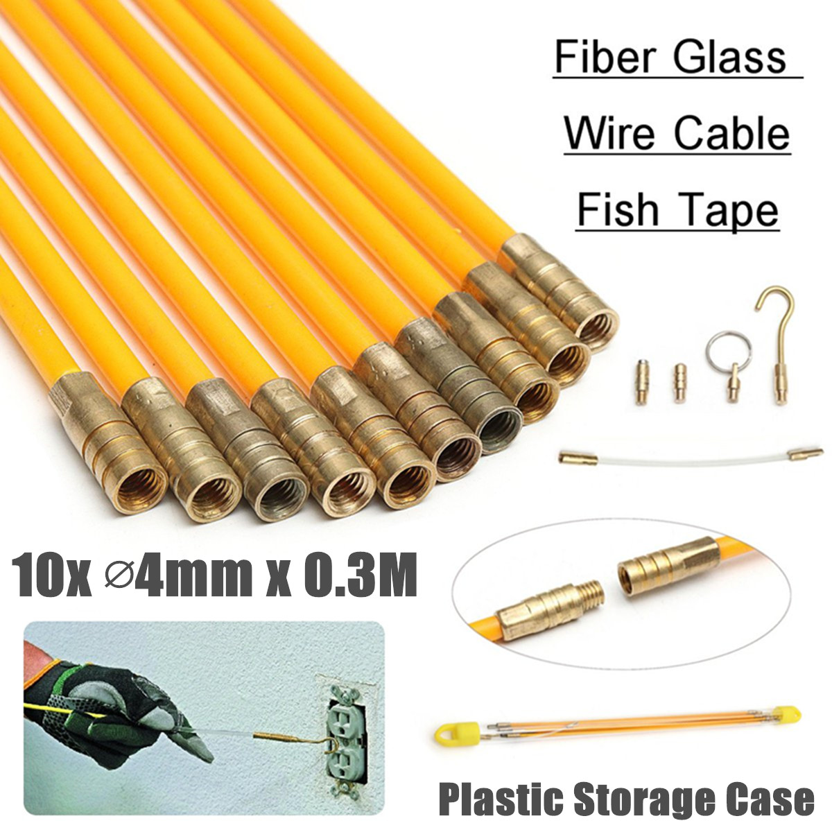 0.3Mx4mm Fiberglass Cable Puller 10Pcs/Set Running Cable Wire Kit Wall Electrical Cable Installing Rods Wiring Accessories