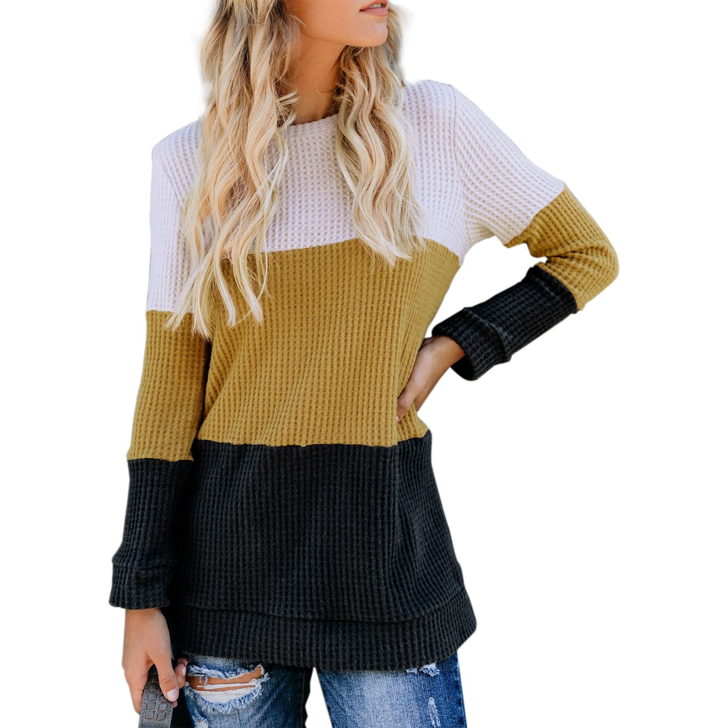 Women Autumn Winter Fashion O Neck Colorblock Knitted Sweater Ladies Casual Long Sleeve  Pullover Jumper Tops
