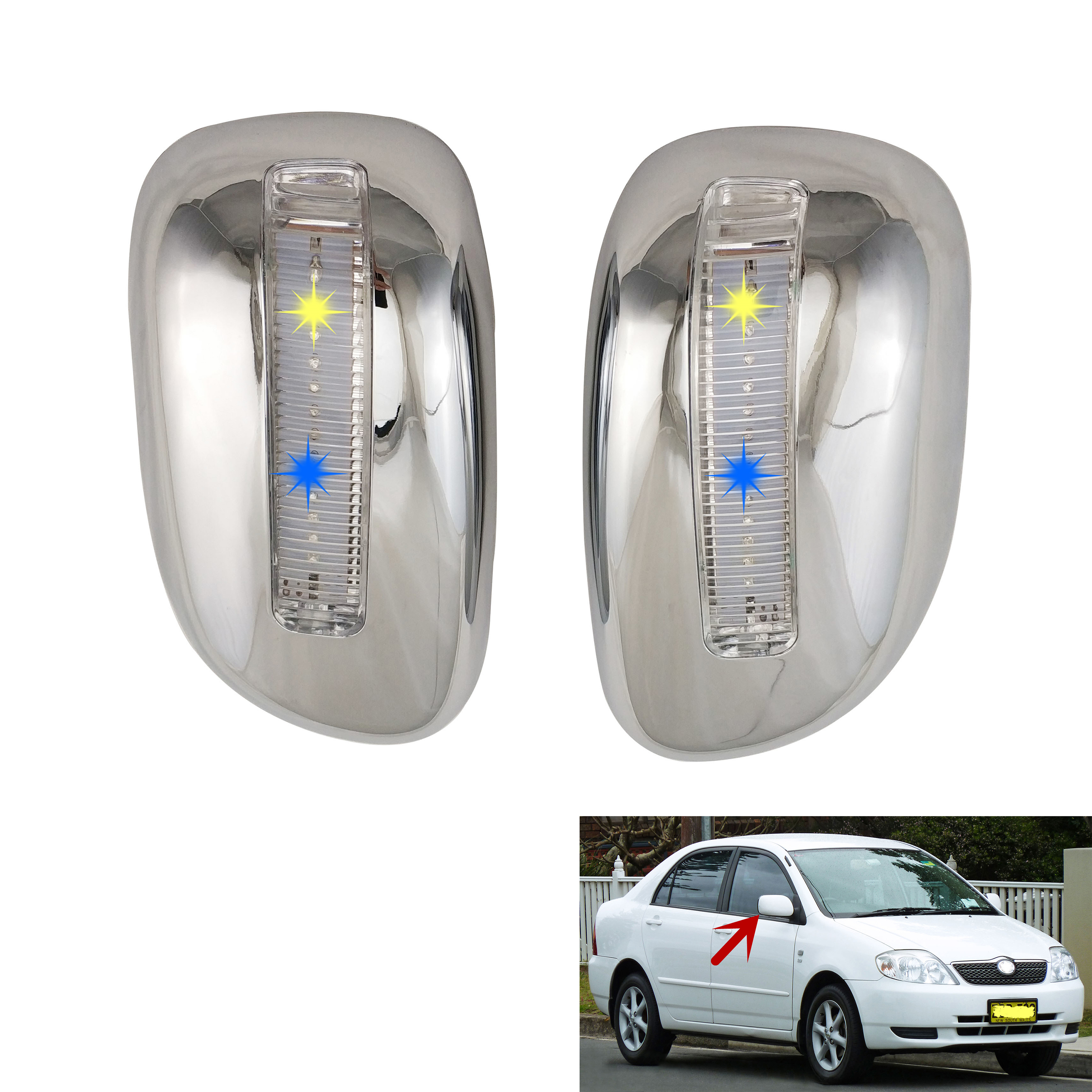 car Accessories Chrome plated rear Mirror Door Cover With LED For Toyota Corolla 2001-2004 SUCCEED PROBOX AVANZA 2003 VIOS 2003(China)