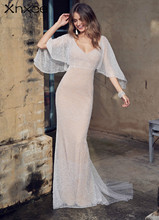 Xnxee Sequin Maxi Dress Women Sexy High Split Long 2019 Solid V Neck Autumn Winter Dresses Vestidos