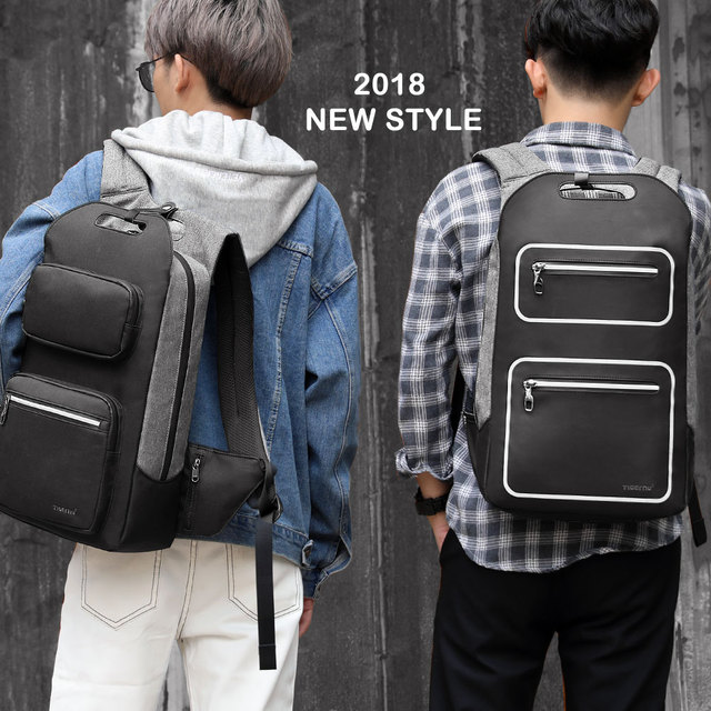 Tigernu Brand Quality Fashion School Backpack For Men 15.6inch Student College Male Mochila USB Charging Men Backpack Anti theft 1