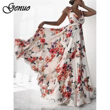 Sexy Floral Print Women Summer Sleeveless V-Neck Backless Vintage Long Boho Party Cocktail Casual Loose Beach Pink Dress
