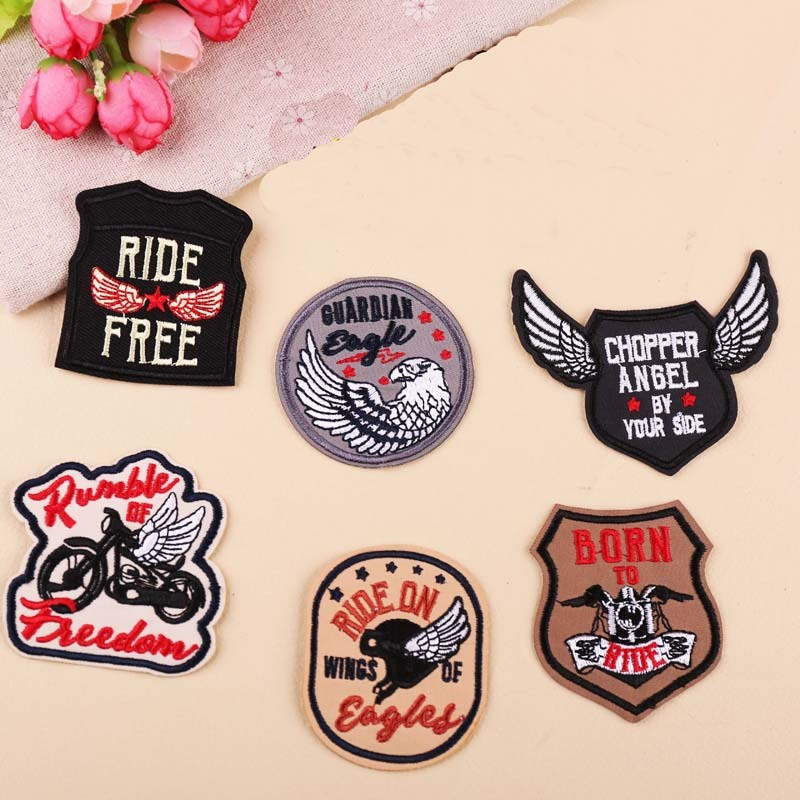PGY 1PCS Creative Series Punk  DIY Wing Locomotive Eagle Badge Decoration Patch Embroidery Patches Stickers Clothes Appliques