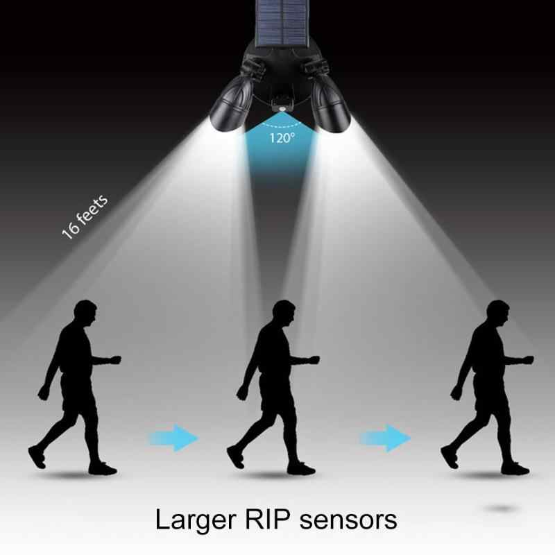 Двухголовная Водонепроницаемая 6LED Солнечная лампа датчик движения человека безопасность на открытом воздухе двора путь ночной точечный свет
