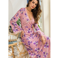 autumn winter velvet dress pink sexy women robe femme long lace clothing sleeve ladies dresses elegant floral
