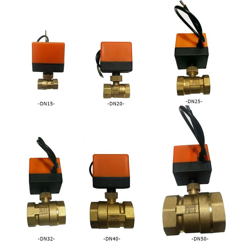 Electric Ball Valve AC220V DN15-50 3-wire 2-way Control Brass Thread Electric Ball Valve Stable Motorized Ball Valve