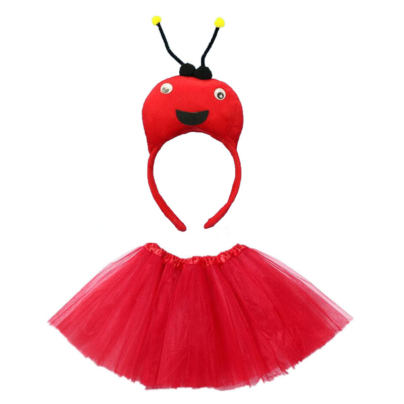 Animals Yellow Bee Ant Cosplay  Headband Bow Tail Paws Tutu Skirt Set Accessories Kids Girl Party  Up Props Halloween Costume